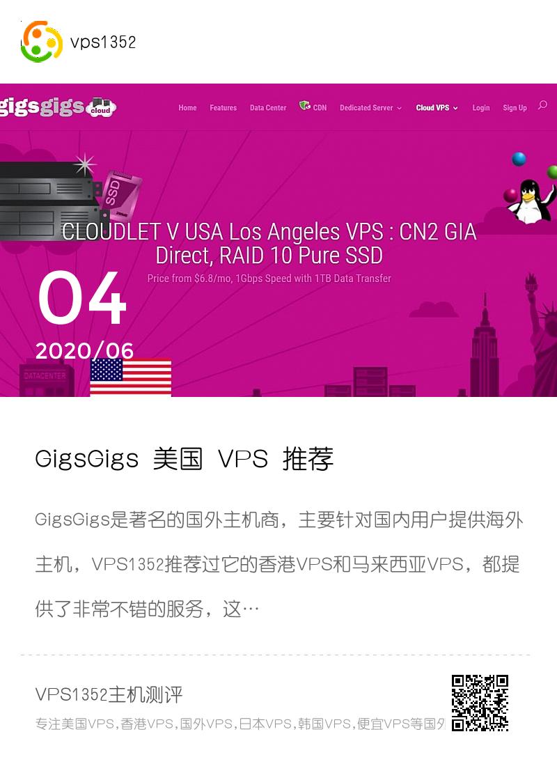 GigsGigs 美国 VPS 推荐 – CN2 GIA 线路支持分享封面